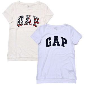 Gap-Womens-T-Shirt-Short-Sleeve-Crew-Neck-Logo-Graphic-Tee-Casual-Split-Hem-New