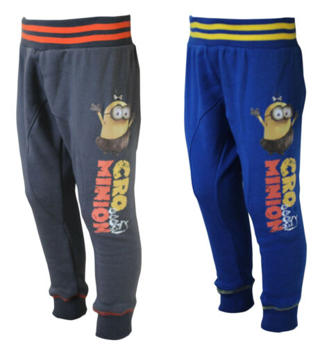 Official Minions Jersey Blue Ribbed Cuff Boys Kids Tracksuit Bottoms Sports Gym