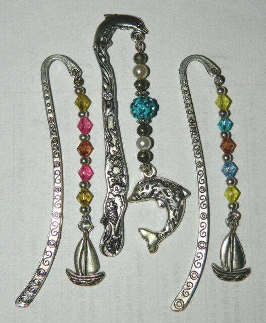 Lot 3 Handmade Multi Color Crystal Silver Bookmark Nautical Ocean Boat Dolphin