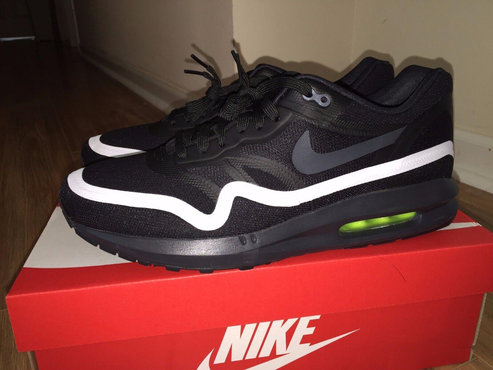 Nike Men Air Max Lunar1 Black White Anthracite Volt Running 654469-003 Brand New