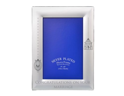 """Personalised Engraved Thin Silver 4x6/"""" Photo Picture Frame Custom Xmas Gift"""