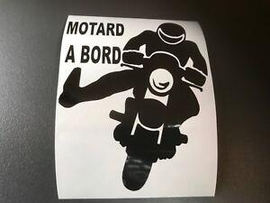sticker autocollant motard a bord tuning auto voiture vitre arriere moto casque ebay. Black Bedroom Furniture Sets. Home Design Ideas