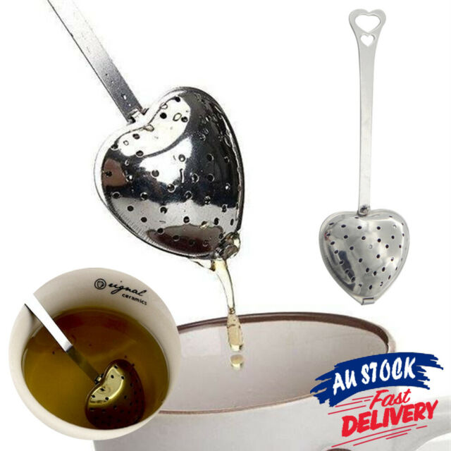 Heart Loose Tea Infuser Stainless Steel Metal Strainer Filter Diffuser Teaspoon