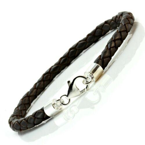 Herren Leder Armband-Klobig Geflochtenes 5mm-sterling Silber Verschluss Farbe