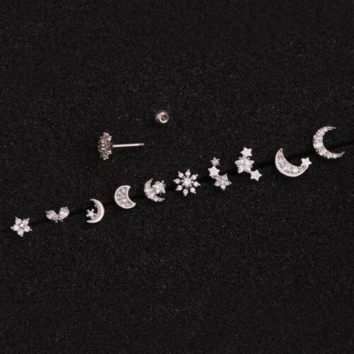 Kristall Strass Mond Sonne Ohr Helix Knorpel Piercing OhrsteckeCRH
