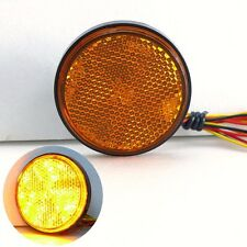 Yellow Amber LED 24 SMD Round Reflector Tail Brake Light Turn Signal Motorcycle