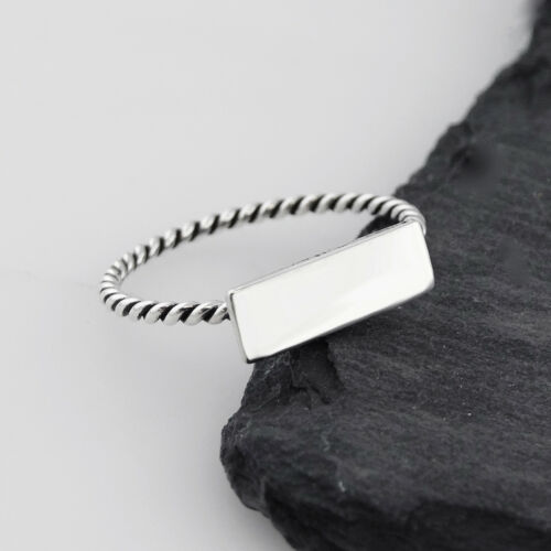 Rectangle Bar Ring 925 Sterling Silver Geometric Jewelry Blank Engrave NEW