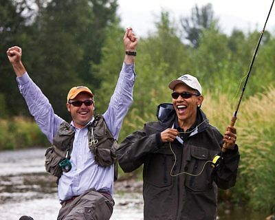 PRESIDENT BARACK OBAMA FLY FISHING IN MONTANA 8x10 SILVER ...