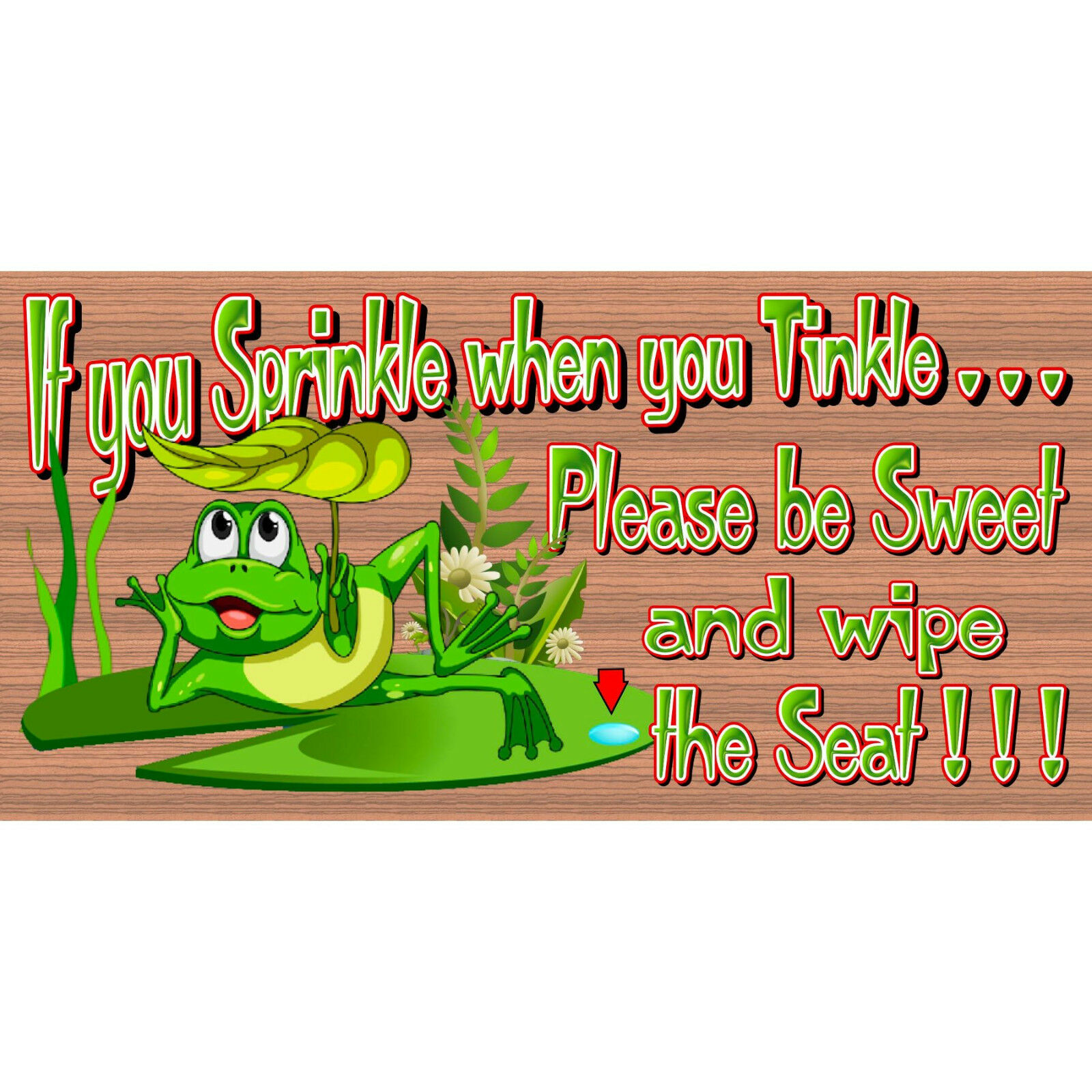 Bathroom Wood Signs - Bathroom Rates GS 3204-Frog Sign