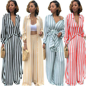 0adc63a032c62 Image is loading Women-long-sleeves-blouses-striped-casual-club-wide-