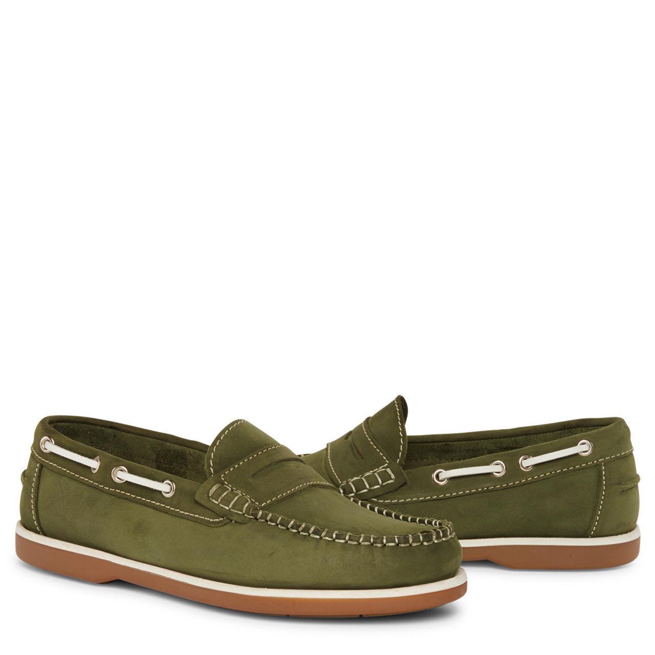 Kanyon Florencia Damas verde Informal Cuero Barco Cubierta Cubierta Cubierta Tallas de Zapatos 4-7 Reino Unido  centro comercial de moda