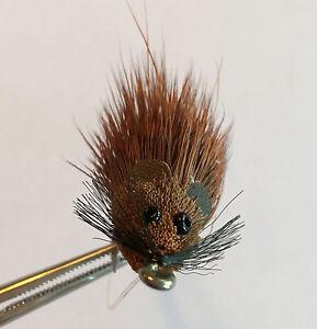 MOUSE RAT BROWN Deer Hair Bass Bug Fly ~ 2 Per Pkg ~ Size 1//0