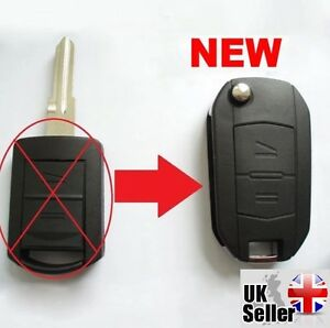 Fits-to-Vauxhall-Opel-Corsa-Meriva-Combo-2-Button-Flip-Key-Fob-Case-034-WITH-LOGO-034