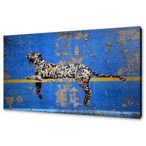 Banksy Leopard canvas print picture modern wall art free fast delivery