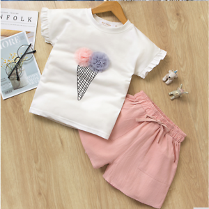 Girls Top Shorts set Casual Short sleeve Outfit Kids Summer Sets Age 3-11 years