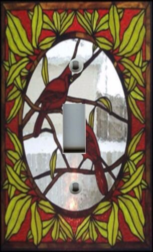 Light Switch Plate /& Outlet Covers STAINED GLASS LOOK ~ RED CARDINALS BIRDS