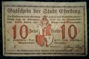 AUSTRIA Notgeld Gutchein der Stadt Eferding 10 Heller banknote 1919