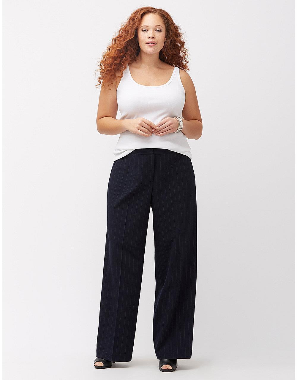 Lane Bryant Lena Tailored Navy bluee Pin Stripe Dress Trouser Pants SZ 28 WideLeg