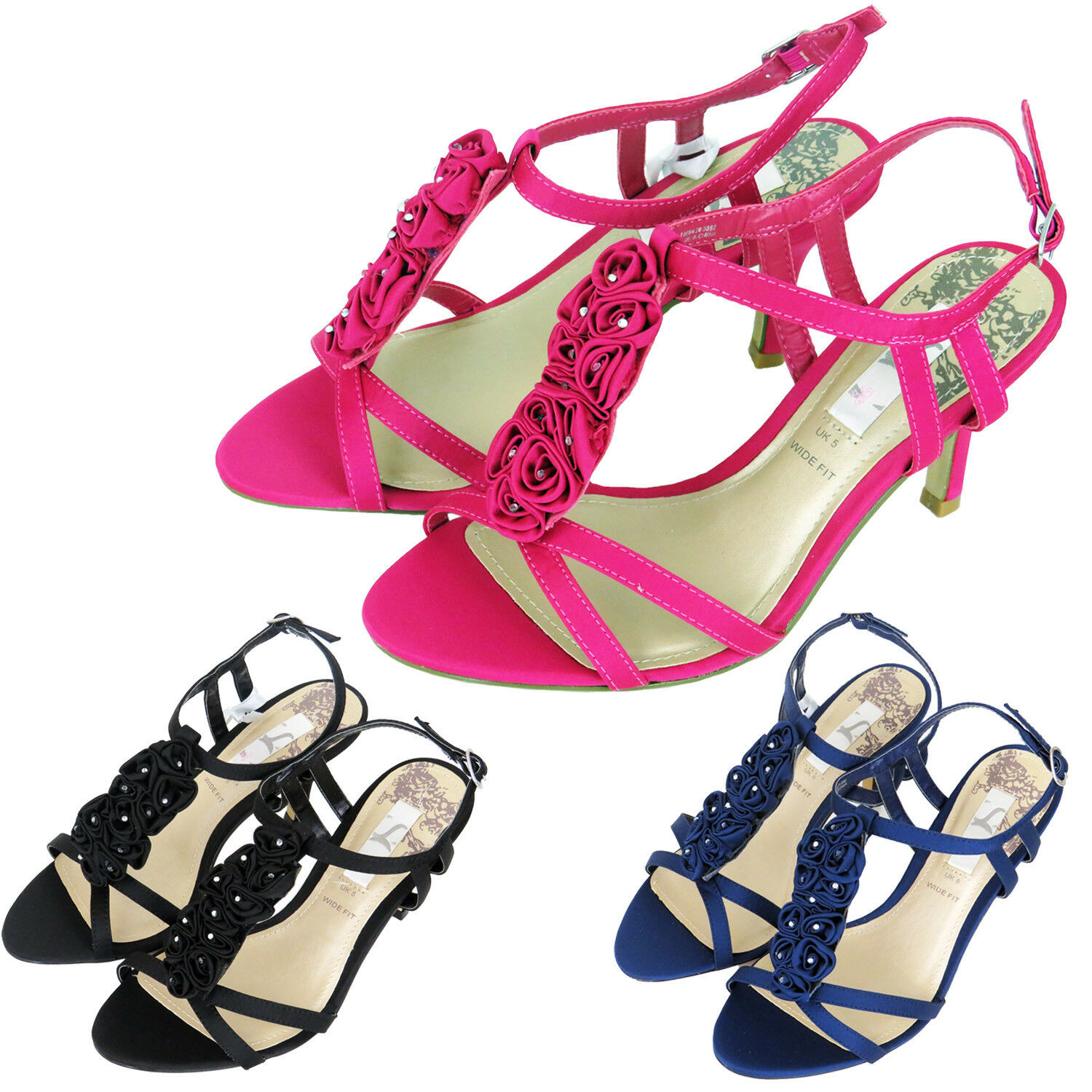 NEW BAR WOMENS SATIN DIAMANTE T BAR NEW PROM PARTY WEDDING BRIDAL MID HEEL SANDALS 4 - 7 a9063d