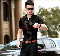 New Fashion Style Mens Flower Dance Shirt Slim Fit Short Sleeve Tee Tops Size XL