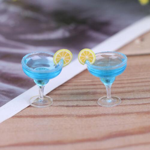 2Pcs 1:12 Dollhouse miniature blue cocktail cup simulation drink glass model  JG