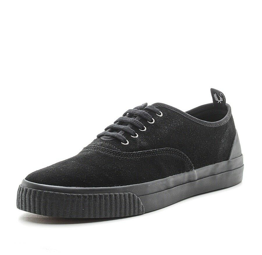 Fred Perry Men's New Casual Vulc Suede Leather Shoes Trainers B9126-102 - Black