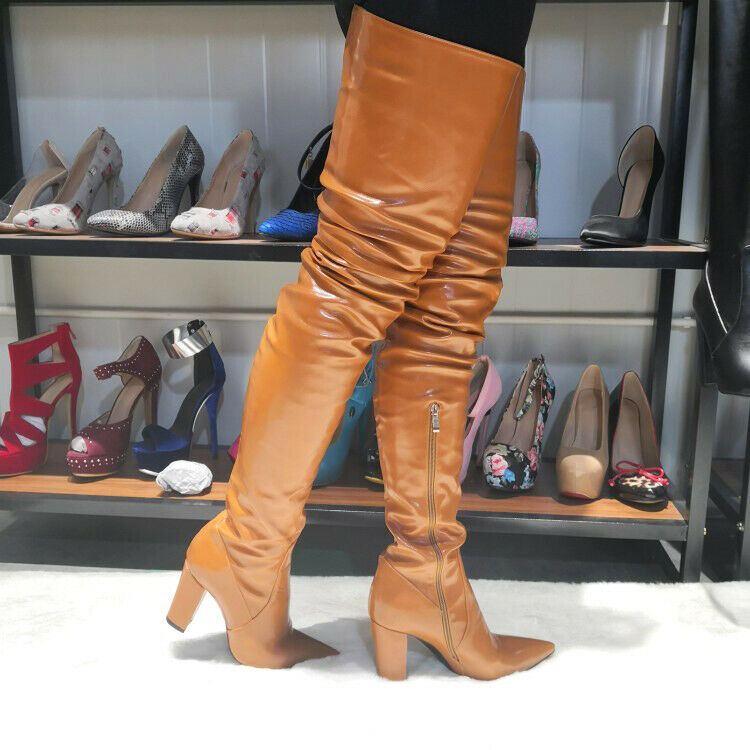 STYLISH Women Over the Knee Boots Pointy Toe Chunky Heel shoes Woman Size 4-15