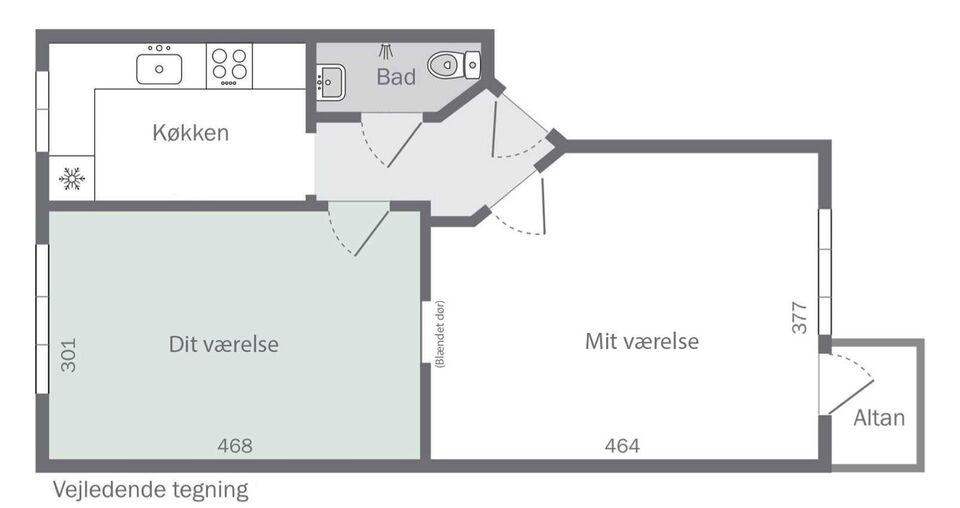 2200 værelse, kvm 14, mdr forudbetalt leje 5000
