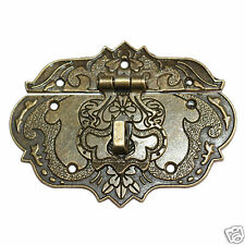 One ornate antique bronze tone box latch with flowers butterfly and hidden heart