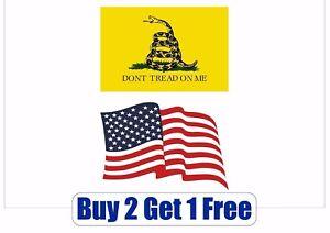 "USA /& Dont Tread On Me Gadsden  Flag Vinyl Decal Sticker 5/""X 3/"""