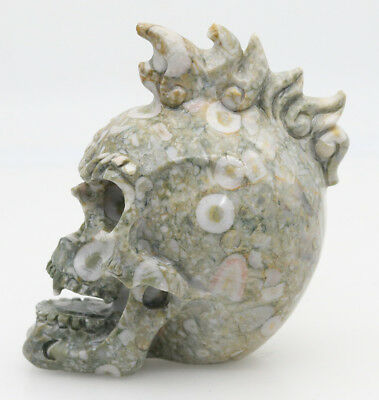 """3.6"""" Crinoid Jasper Jade Hand Carved Flame Skull,realistic,crystal Healing K106 Utmost In Convenience Collectibles"""