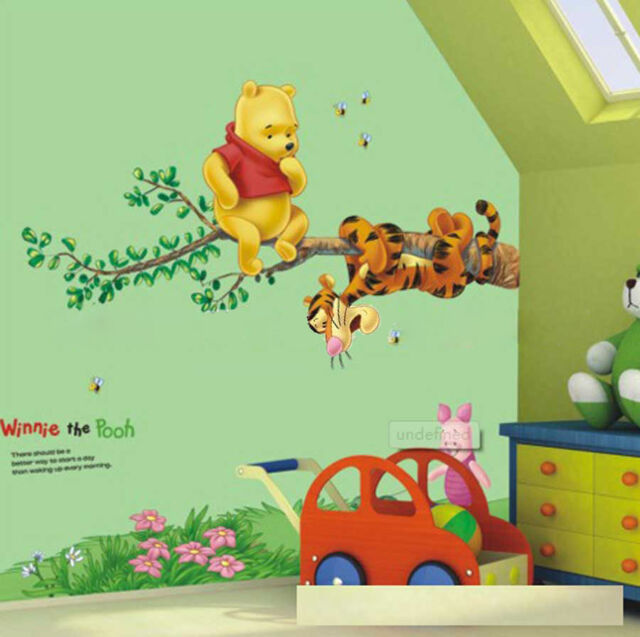 Cartoon Winnie the pooh By The Branches Wall Stickers  Decorated Children Room