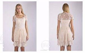 NWT-Massimo-Dutti-Zara-Group-Ivory-Lace-Crochet-BOHO-Dress-Size-XS-fits-Small