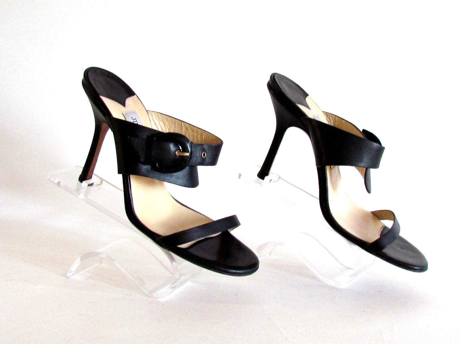 Mujer Zapatos Sandalias Tacones Diseño Jimmy Choo Negro Piel Sandalias 8.5M
