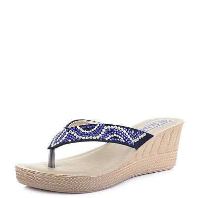 Mujer A23 Slip On tacón con plataforma Toe Post Sandalias De Verano Tacón Alto tamaño de Reino Unido