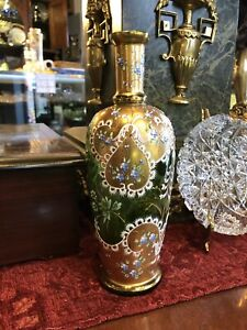 Antique-Green-Glass-with-Gilt-Moser-Hand-Painted-Vase-Bohemian