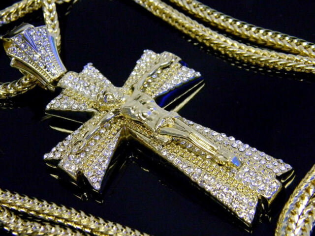 """Jesus Cross Pendant Hip Hop Iced Out Necklace Crystal 36"""" Franco Chain Gold"""