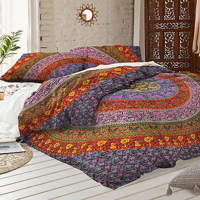 Queen Bohemian Mandala Bed Cover Throw Bedding Coverlet Indian Bedding Bedspread