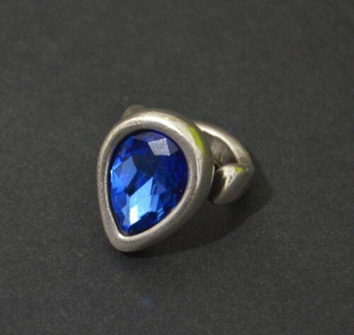 Anillo de Zamak-crystal corazón azul-baño de plata-hecha en Europa-alta calidad