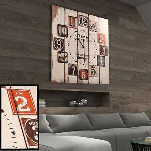 wand uhr vintage shabby chic zeit anzeige nostalgie retro holz design 58x58 cm ebay. Black Bedroom Furniture Sets. Home Design Ideas