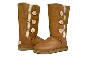 77f65f96ecb Details about UGG Australia Women Bailey Button Triplet 2 II Boots 1016227  Black Chestnut Grey