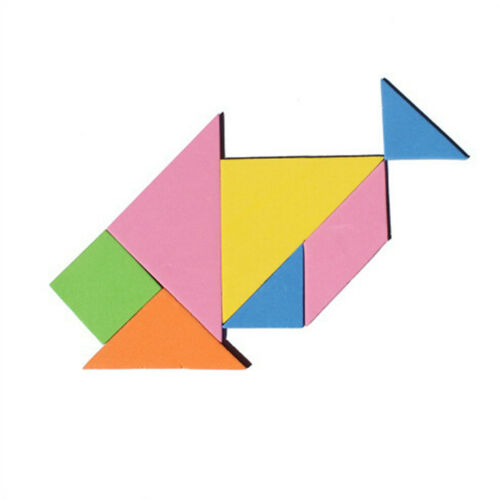 7 Piece Rainbow Color EVA Tangram DIY Foam Brain Puzzle Kids Educational Toys B$