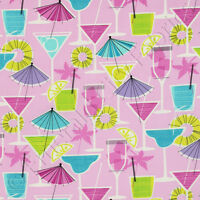 Timeless Treasures Fruity Cocktail Drink Pink Metallic Novelty Cotton Fabric /yd