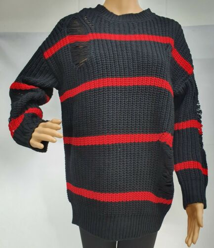 L Sizes F1073 Women Black//Red Oversized Distressed Heavy Knitted Jumper S