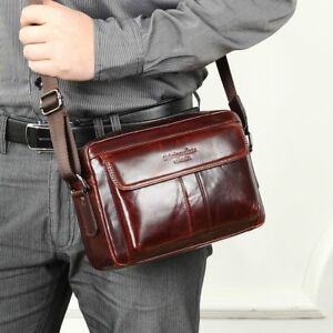 c0e3f0d2e4 Image is loading Genuine-Leather-Men-Bag-Vintage-Crossbody-Bag-Business-
