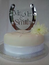 Wedding Cake Topper,Horse shoe,PERSONALISED,Mr & Mrs,Acrylic Mirror,Gift