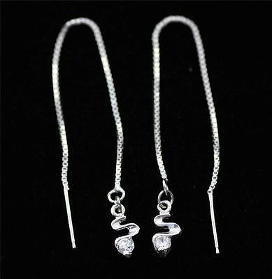 Pretty Pull Through 925 Sterling Silver,Cubic Zirconia Dangle Earrings jewellery