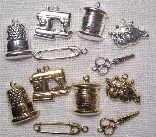 301 machine fil LOT 6 CHARMS BRELOQUES COUTURE argenté ou doré : ciseaux dé