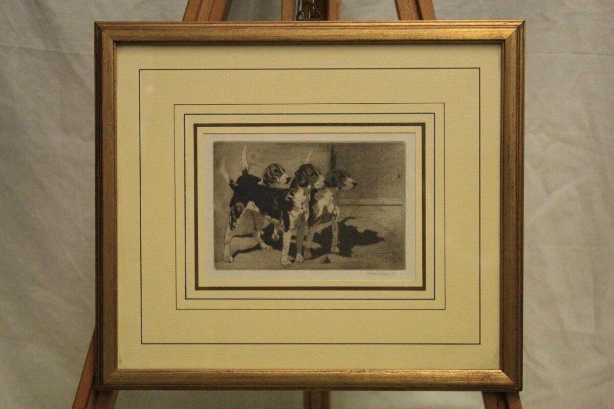 En Morshead (1889-1966)   Grupo de Sabuesos  Grabado Al Aguatinta