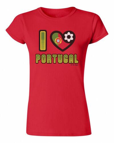 Ladies T-Shirt I LOVE PORTUGAL Football WORLD CUP 2018 Womens Kit Flag
